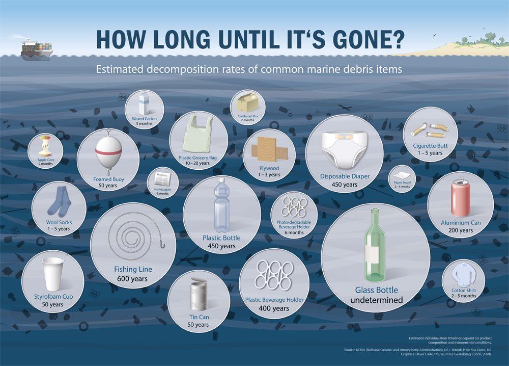 Wegwerfwindeln brauchen im Durchschnitt 450 Jahre bis sie verrotten. (Quelle: https://www.windelmanufaktur.com/media//wysiwyg/wordpress/m/a/Marine-debris...-918.jpg)